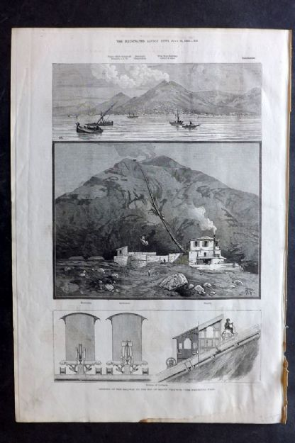 ILN 1880 Print Opening of the Railway to the top of Mount Vesuvius, Naples Italy